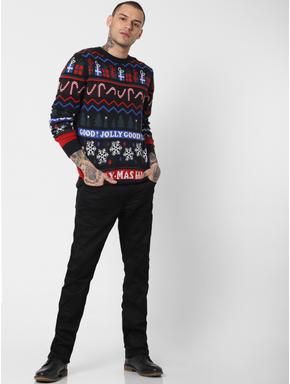 Black Printed Pullover