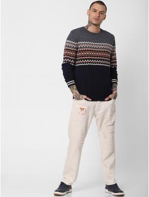 Grey Colourblocked Printed Pullover