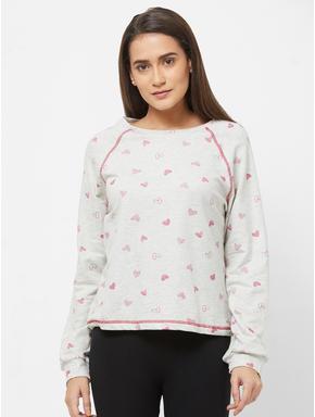Cute Heart Print Sweatshirt