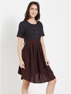 Polka Print Short Dress