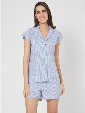 Striped Shirt Shorts Set