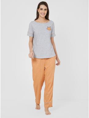 Cute Cat Print T-shirt Pyjama Set