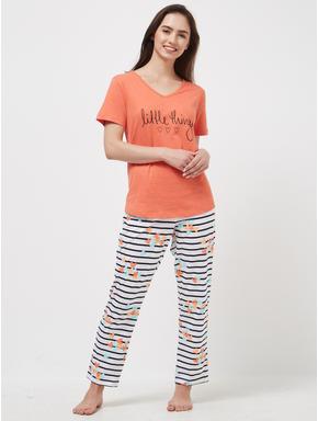 Heart Striped T-shirt Pyjama Set
