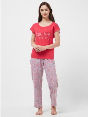 Floral Chambray T-shirt Pyjama Set
