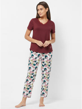 Lace Trimmed Floral Pyjama Set