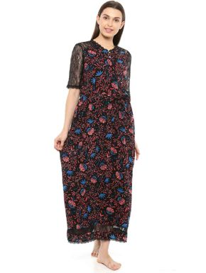 Lace Sleeved Floral Long Dress