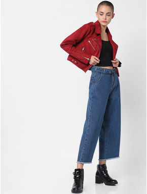 Red Cropped Biker Jacket