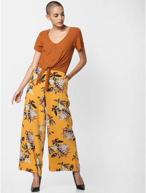 Yellow Mid Rise Floral Print Wide Leg Pants