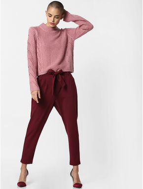 Burgundy Mid Rise Belted Pants