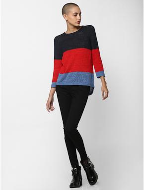 Blue Colourblocked Pullover