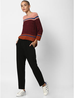 Brown Colourblocked Pullover