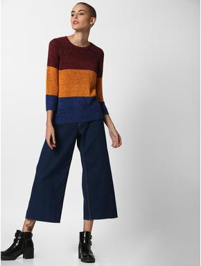 Burgundy Colourblocked Pullover