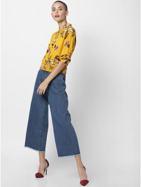 Yellow Floral Print Smock Shirt