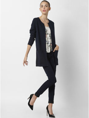 Dark Blue Front Open Cardigan