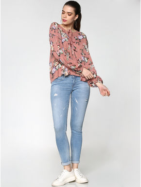 Pink Floral Print Flared Top