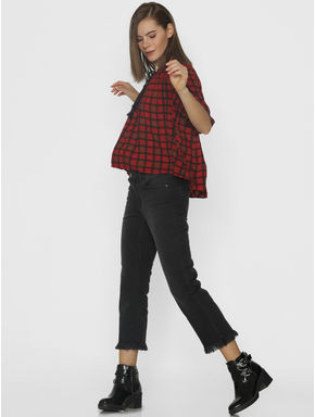 Red Check Flared Top