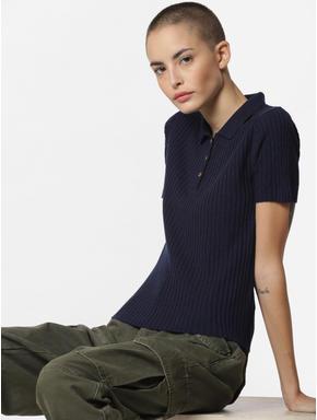Dark Blue Ribbed Polo T-Shirt