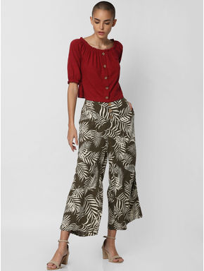 Dark Green Mid Rise All Over Print Pants