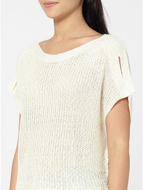 Cream Drop Shoulder Pullover
