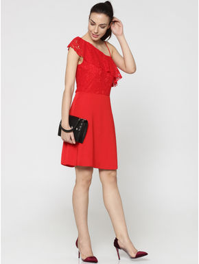 Red One Shoulder Lace Dress