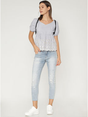 Blue Cut Work Off-Shoulder Top