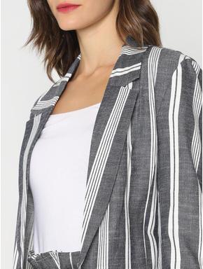 White Striped Long Blazer