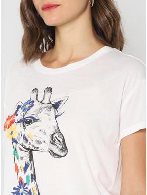 White Giraffe Graphic Print T-shirt