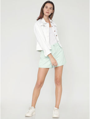 Pastel Green Slim Fit Denim Shorts