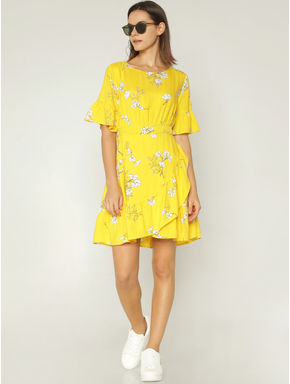 Yellow Floral Print Fit & Flare Dress