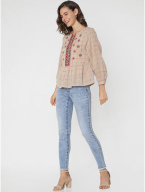 Light Brown Embroidered Check Top