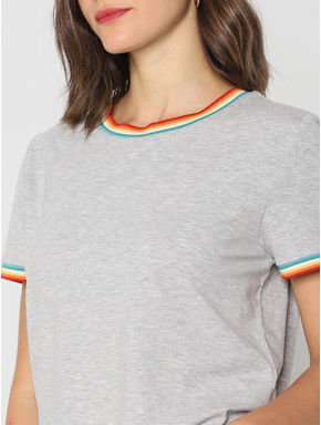 Grey Contrast Tipping T-shirt