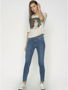 Cream Princess Jasmine Print T-shirt