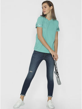 Green Embellished Sleeves T-shirt
