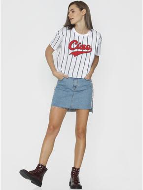 White Striped Cropped T-shirt