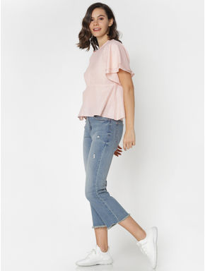 Rose Shimmer Striped Top