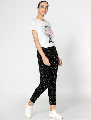Black Mid Rise Polka Dot Print Pants