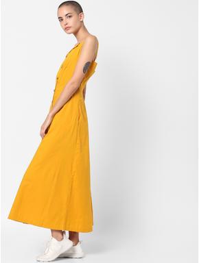 Mustard Flared Midi Dress