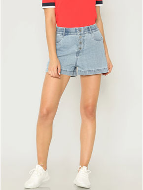 Blue Low Rise Denim Shorts