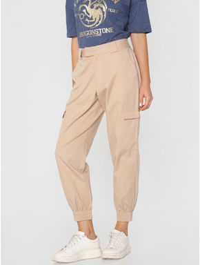 Beige Mid Rise Relaxed Fit Pants