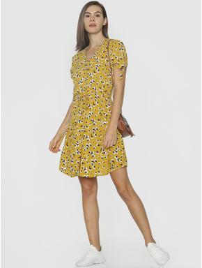 Mustard Floral Print Fit & Flare Dress