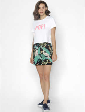 Black Botanical Print Paperbag Waist Shorts