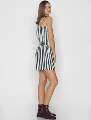 White Striped Sleeveless Playsuit