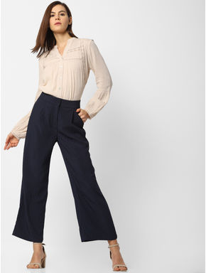 Dark Blue Striped Wide Leg Cropped Pants