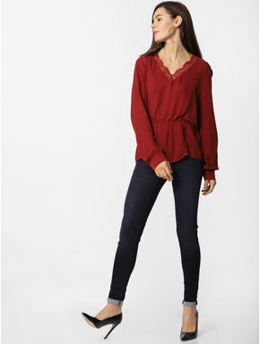 Maroon Lace Detail Top
