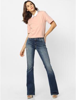 Peach Colourblocked Cropped T-Shirt