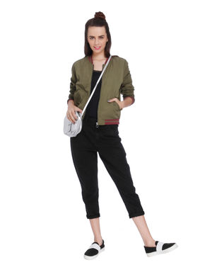 Green Contrast Tipping Bomber Jacket