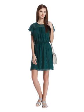 Dark Green Printed Fit & Flare Dress