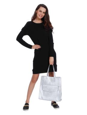 Black Mesh Detail Mini Dress