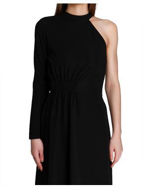 Black One Shoulder Asymmetric Dress