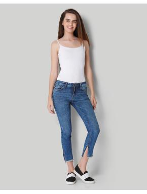 Blue Mid Rise Frayed Hem Slim Fit Jeans